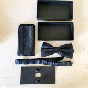 Bow tie, handkerchief, and cuff link set. NEW